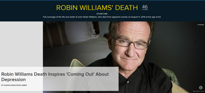 """Robin Williams Death Inspires 'Coming Out' About Depression -- NBC News (Click to read article)"
