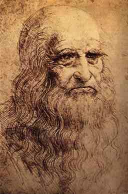 Possible Self-Portrait of Leonardo da Vinci, Red Chalk, 1510