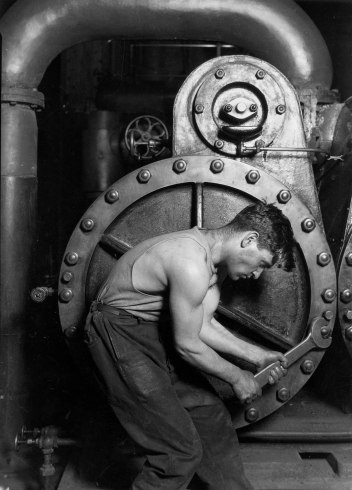 "Lewis Hine, ""Power House Mechanic Working on Steam Pump,"" 1920"