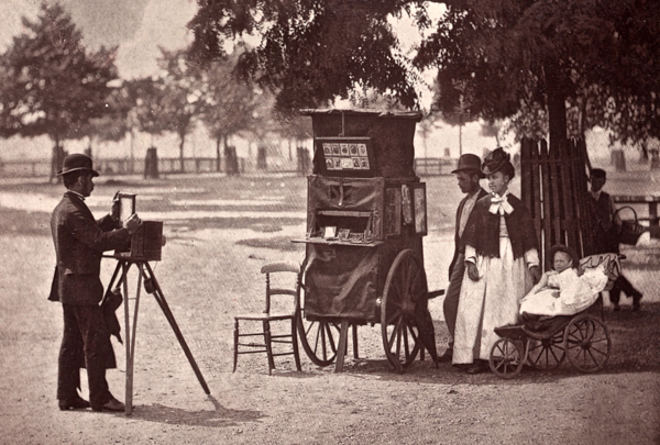 Photograph by John Thomson, ca. 1876, Traveling Photographer on Clapham Common