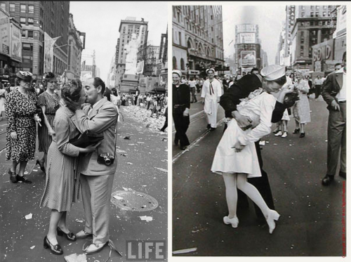 The kiss was theatrical; the shot iconic, but it was hardly the only shot Eisenstaedt took. The shot on the left was no less well-intentioned and showed the street photography roots behind the Life cover.