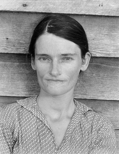 "Evans, iconic photo of Allie Mae Burroughs, ""Alabama Tenant Farmer Wife,"" 1936. (Read more here.)"