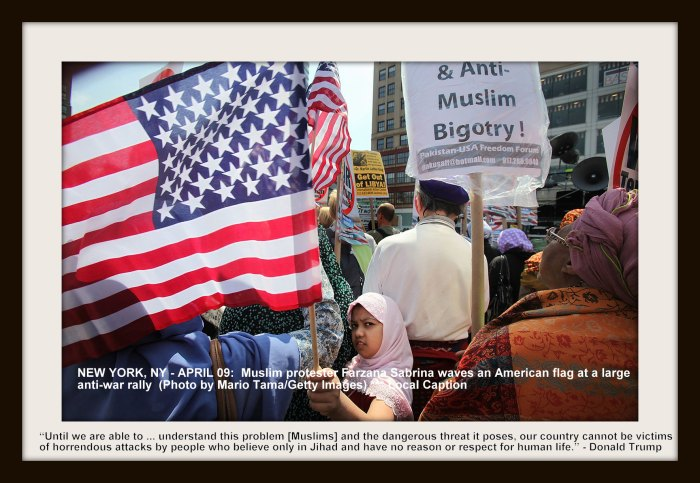 NEW YORK, NY - APRIL 09: Muslim protester Farzana Sabrina waves an American flag at a large anti-war rally in Union Square on April 9, 2011 in New York City. Thousands of protesters called for the U.S. to end the wars in Iraq and Afghanistan and a large Muslim contingent protested against war and Islamophobia. (Photo by Mario Tama/Getty Images) *** Local Caption *** Farzana Sabrina