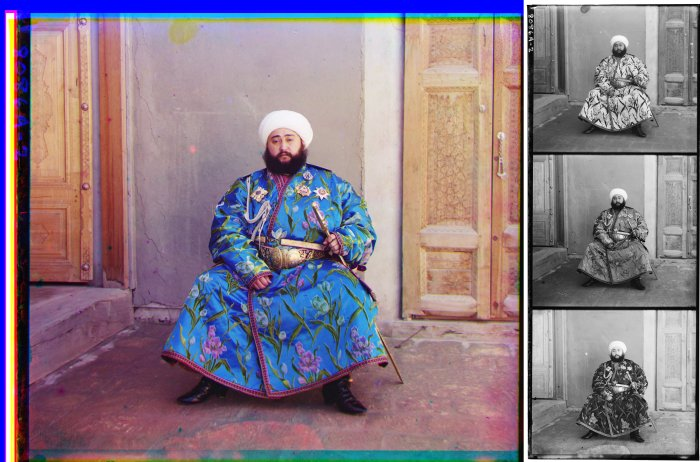 The Emir of Bukhara in a 1911 color photograph by Sergei Mikhailovich Prokudin-Gorskii. At right is the triple color-filtered black-and-white glass plate negative, shown here as a positive. - Wikipedia